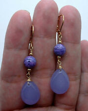 Smooth Lavender Chalcedony Briolette W. Chaorite Gold Earrings --- Leverbacks