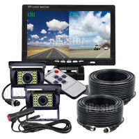 "7"" Split Dual Screen Monitor +4 PIN CCD Reversing Camera X2 12/24v For Truck Bus"