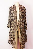 BELL BRAND BROWN FLORAL SILK BLEND OPEN FRONT KNEE LENGTH DUSTER SIZE XL