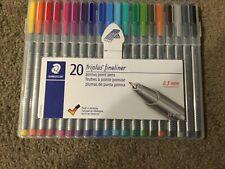 Staedtler 20 triplus fineliner porous point pens in hard storage case