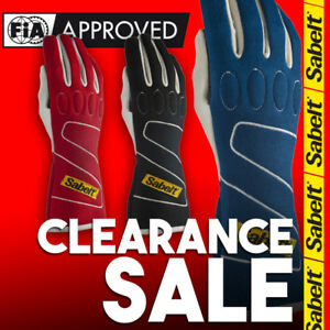 FIA Sabelt Touch FG-300 Blue Red Black Racing Rally Gloves  CLEARANCE SALE!