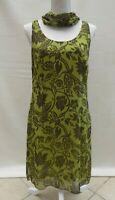 Bandolera Woman lime/brown crepe feel sleeveless lined shift dress Size 14