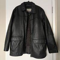 Vintage Wilsons M Julian Black Leather Car Coat Thinsulate Bomber Jacket Men XL