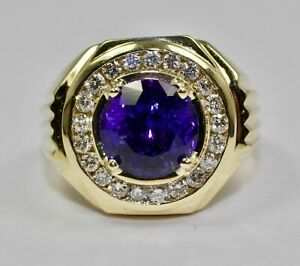 14K Yellow Gold Over Men's 1.5 CT Round Amethyst Men's Engagement Hip Pinky Ring