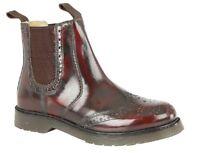 Grafters M757 Clásico Zapato Oxford Escudete Botas de Trabajo Rojo Oscuro