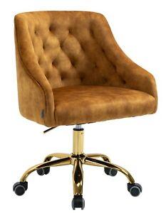 Bronze Velvet Fabric Upholstered Tufted Home Office Chair Gold Base
