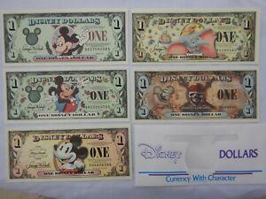 DISNEY MICKEY MOUSE DOLLARS - LOT of FIVE - ONE DOLLAR BILLS