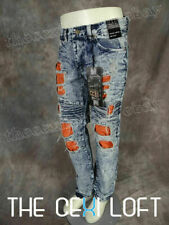 Mens Distressed JEANS Straight Leg DESTROYED Blue Wash Holes with Backing Fades