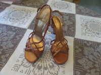 Gianni Bini Leather Copper Strappy Platform High Heel Sandals Size 7.5M