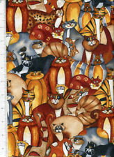 packed ~ WHIMSICAL CATS ~ timeless treasures fabric