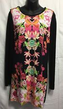 SPORTSGIRL Women's Top Tee Dress size XS Black Floral Long Sleeve Ladies