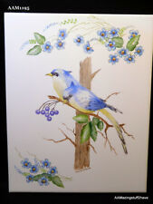 "Hand Painted and Fired Ceramic Blue Birds in tree w/ Blue Flowers tile 8"" x 10"""