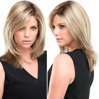 Women Short Bobo Wig Blonde Ombre Wigs Straight Synthetic Hair Cosplay Wig US