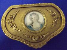 Gilt Dresser Box With Hand Painted Miniature Portrait