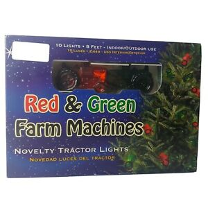 Tractor Red Green String Lights Farm Machines 10 Count 8 Feet Christmas New OB