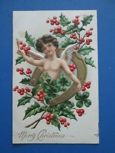 Antique Embossed Christmas Postcard Cherub Horseshoe Clover