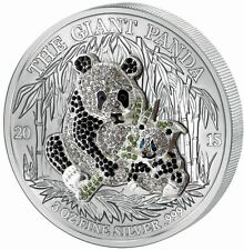 2015 Rwanda 3 Ounce Pave Crystal Giant Panda Silver Coin Set 1,000 Francs