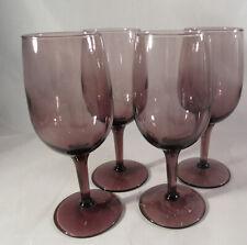 """Vintage 4 Purple Amethyst 6 Oz  Wine Glasses 6"""" Tall"""