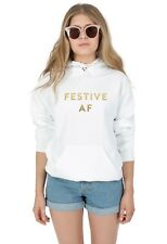 Festive AF (Gold) Hoody Hoodie Sweater Top Christmas Xmas Funny Gift