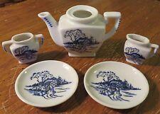 Vintage Dollhouse Miniatures Tea Set Pieces Teapot 2 Plates Creamer Sugar Bowl