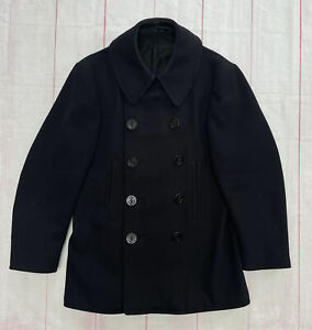 Vtg 1940s US Navy Peacoat Military USN Wool Double Breasted 10 Button Corduroy