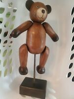 Vintage Carved Wooden Teddy Bear- Moveable Arms -Legs -Head 17 Inches On Stand