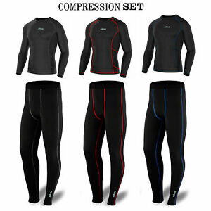 Mens Compression Tight Base Layer Under Armour Skin Fit Shirts, Trosuers, Set