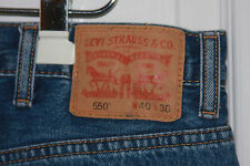 """Levis 550 Blue Jeans 40""""x30"""" 100% Cotton Relaxed Fit Tapered Leg Medium Wash"""