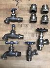 Lot (5) Large Small Vintage Antique Water Spigot Bib Hose Faucet Tap Valve Brass
