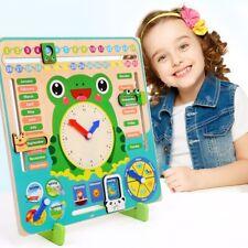 Wooden Montessori Kids Educational Weather Season Calendar Clock Time Wood Toys