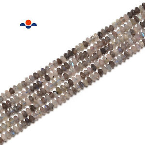 Multi Color Labradorite Faceted Rondelle Beads Size 3x4.5mm 15.5'' Strand