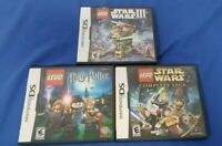 Lot of 3 Lego Nintendo DS Games Star Wars 3 and  Complete Saga, Harry Potter 1-4