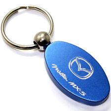 Mazda Miata MX5 Key Chain - Blue Aluminum Metal Logo Chrome Ring