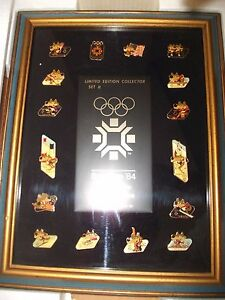 OLYMPIC PINS SARAJEVO 1984 IWINTER OLYMPIC GAMES IN BOX  FRAMED
