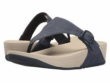 New $100 Fitflop The Skinny Women's Canvas Flip Flop Sandals Midnight Navy Sz 11