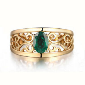 1.20Ct Natural Zambian Emerald Round Shape Solitaire Ring In 14KT Yellow Gold