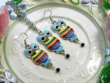 Multicolor Owl Adjustable 17 to 19 Inch Necklace and Earring Set Silver Tone