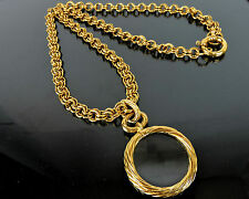 "AUTHENTIC CHANEL CC GOLDTONE MAGNIFYING GLASS PENDANT 31"" CHAIN NECKLACE 93 P"