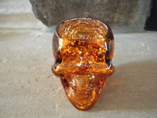 HALLOWEEN ORANGE SKULL HEAD CRACKLED GLASS VOTIVE CANDLE HOLDER PLANTER HEAVY!!!
