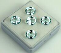 Oval Aqua Blue Aquamarine Gemstone Lot 100% Natural 9.50 Ct/5Pcs AGSL Certified