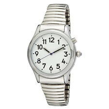Lady's Talking Alarm Watch Silver Tone Time,Month,Day,Date Low Vision or Blind