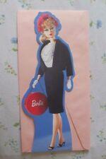 "HALLMARK BARBIE Commuter Set GREETING CARD 2003 NEW Black Suit w/Hat Box 11 1/2"""