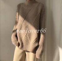 Women High-Neck Sweater Pullover Cashmere Long Sleeve Loose Coat knitwear Top!