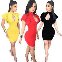 Women Short Sleeves Keyhole Clubwear Bodycon Cocktail Party Short Mini Dress