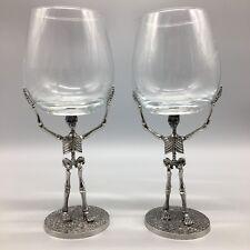 x2 Halloween Skeleton Wine Glass Set Goblet Silver Metal Stem Gothic Skull TMD