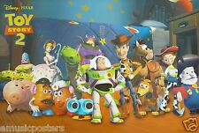 """DISNEY/PIXAR """"TOY STORY 2"""" POSTER -Woody & Buzz Standing With All The Characters"""