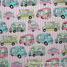BonEful Fabric FQ Cotton Quilt Pink White Stripe Ice Cream Truck Food Girl Camp