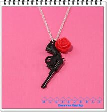 FUNKY BLACK GUN RED ROSE NECKLACE CUTE KITSCH RETRO ROCK CHICK PISTOL GANGSTER