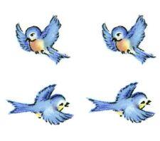 "12 Blue Bird Birds Flying 3/8"" Waterslide Ceramic Decals Bx"