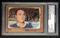 RED KELLY SIGNED 1966 TOPPS CARD #79 PSA/DNA TORONTO MAPLE LEAFS